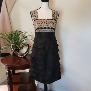 Dress Barn Black, gold, sparkling layered dress